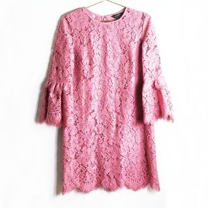 Banana Republic Dusty Rose Lace Bell Sleeve Dress